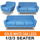 Linen Fabric 3 Three Seater Scandi Sofa - Single 2 Two Double Couch Lounge Blue