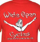 T Shirt Wide open cycles Shirt Skull Motorcycle no Harley Stripper funny image