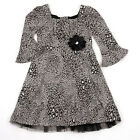 Youngland 4 5 6 6X Cheetah Brushed Knit Dress Girl Party Holiday Dressy Gray