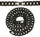 "MENS ICED OUT 15mm BLACK FINISH MIAMI CUBAN LINK CHAIN NECKLACE  36"" to 20"""