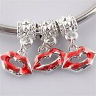Hot Sexy Red Lips Kiss Enamel Silver Plated European Charms Pendant Beads
