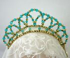 Turquoise & Gold Beaded Half Aura Tiara Ballet Dance Eisteddfod Headpiece Crown