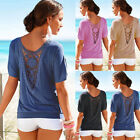 New Summer Womens Loose Short Sleeve Lace Back T Shirt Casual Tops Ladies Blouse