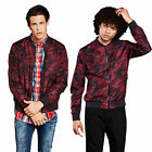 Brave Soul Regal Mens Bomber Jacket New Red Camouflage Print MA1 Harrington Coat