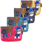 Ladies Faux Leather Cute Dog Bifold Coin Purse Womens Wallet Card Holder