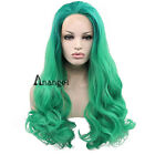 Green Natural Heat Resistant Synthetic Lace Front Wigs Wavy Long Wig Full Hair