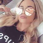 Vintage Retro Women's Rose Gold Cat Eye Designer Large Mirrored Sunglasses UV400