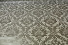 White and Silver Damask PVC Easy Wipe Clean Tablecloth 140cm Wide