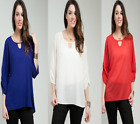 T25 New Womens Fashion Summer Office Chic Hi Low Plus Size Work Tops Blouse