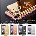 Aluminum Metal Bumper Mirror Back Cover Case + Tempered Glass Screen Protector
