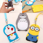 Cartoon Silicone ID Card Holder Card Case Badge Necklace Neck Strap Lanyard