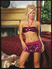 Dreamgirl 4136 Sequin Ladies Partywear Clubwear Bra Top & Mini Skirt Size Large