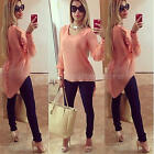Womens Summer Chiffon Ladies Blouse Tops Long Sleeve Shirt Blouses T Shirt NEW