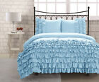 SKY BLUE HALF RUFFLED DUVET COVER BED SKIRT 1000TC 100% COTTON CHOOSE SIZE