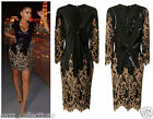 CELEB SEXY GLAM BLACK GOLD SEQUIN FITTED MIDI EVENING PARTY COCKTAIL DRESS 8-18