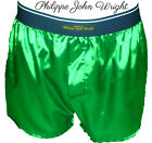 EMERALD GREEN SHINY SATIN CLASSIC DESIGN BOXER SHORTS by PJW Made in France
