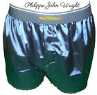 NAVY BLUE SHINY SATIN CLASSIC DESIGN BOXER SHORTS by PJW Made in France