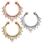 Septum Clip-On Fake Nose Ring Clicker Non-Piercing Crystal Hanger Hoop Jewelry image