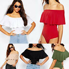 Womens Ladies Bardot Off Shoulder Sleeveless Frill Bodysuit Leotard Top 8- 14