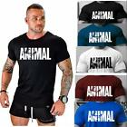 2018 New Men's Animal Fitness Cotton O-Neck Gym Muscle Bodybuilding T-shirt Tee image