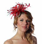 Red Fascinator hat & Aqua  highlight/choose any colour satin/feathers