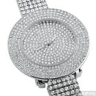 Silver Tone Fully Iced Out 4 Row Bezel Hip Hop Mens Watch