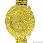 Gold Canary Yellow Iced Out 4 Row Bezel Bling Watch