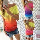 Fashion Summer Womens Casual Gradient Short Sleeve Boat Neck Tops Blouse T-shirt