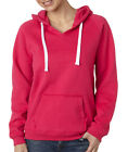 J America Ladies' Brushed V-Neck Hooded Solid Hoodie Sweat Shirt J8836