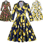 Ladies Vintage 1950s 60s Retro Swing Pinup Party Cocktail Flared Dress PLUS SIZE