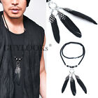 Dark Edge Triple Real Feather & Beads Charm Mens Long Chain Necklace Guylook