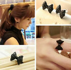 Fashion Black Rhinestone Bowknot Bow Tie Earrings Earring Adjustable Rings