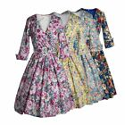 Women Lapel Collar Floral Printed Casual Dress Swing Pinup Evening Party Dress