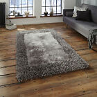THICK DENSE NEW SABLE 2 SPARKLE SHAG RUG SILVER / GREY MODERN QUALITY LARGE RUGS