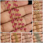 1 Foot Wholesale Gemstone Beads Rosary Style Beaded Wire Wrap Chain Necklace