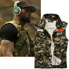 New Men's Summer Outdoor Sports Vest Fashion Sleeveless Slim Camo Jacket