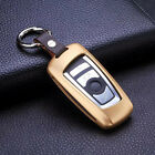 Genuine Leather Ring Aluminium Alloy Key Cover Case Shell Fob Fit For BMW GIFT