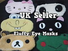 SOFT FURRY PLUSH LUXURY TRAVEL SLEEPING EYE MASK COVER PATCH BEAR PANDA FROG UK