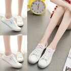 Women Girls Canvas Sneakers Lace Up Casual Low Top Plimsoll New Shoes 2 Colors