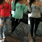 Womens Sexy Bandage Long Sleeve Tops Deep V Neck Lace-UP T-Shirt Casual Blouse
