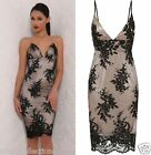 CELEB BLACK PLUNGE SCALLOPE LACE EMBROIDERY FITTED MIDI EVENING PARTY DRESS 6-16