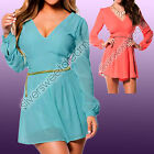 Dress Woman Sexy Cleavage Chiffon Suit Neck Long Sleeve Party Clear Pattern