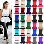 New Womens Ladies Sleeveless Belted Peplum Frill Skater Mini Dress Top Plus Size