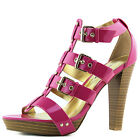Women's Adjustable Strappy Gladiator Platform Chunky High Heel Pump Shoe