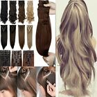 US 100% Natural As Human Remy Clip In Hair Extensions Extra Thick Curly Straight