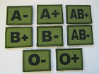 BLOOD GROUP PATCHES IN OLIVE GREEN WITH HOOK & LOOP BACKING