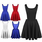 New Womens Ladies Celeb Inspired Flared Plain Playsuit Dungarees Pinafore Dress