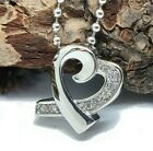 """Cremation Urn Necklace """"Heart w/ CZ stone"""" Jewelry Pendant Ash holder Memorial"""