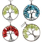 Gemstone Chip Copper Plated Tree of Life Wire Wrap Pendant Charms Fit Necklace
