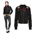 Brave Soul Army Badge Womens Bomber Jacket Classic Vintage MA1 Zip Up Biker Coat